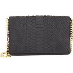 Zagliani Python Bon Bon Clutch (3,150 SAR) ❤ liked on Polyvore featuring bags, handbags, clutches, black, python purse, python handbag, snakeskin purse, rubber purse and snake print handbag
