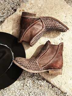 Panama Woven Chelsea Boot | Western-style chelsea boots with a distressed finish and woven leather detailing.   *By faryl robin + Free People