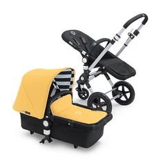 bugaboo's jazz up summer canopy: yellow with black/white stripes!