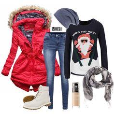 cervena parka vianocny sveter