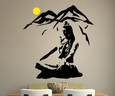 Lord Shiva Wall Sticker - Lotus Pose Vinyl Wall Decal Mountain Meditation Home Decoration Hindu God Removable Art