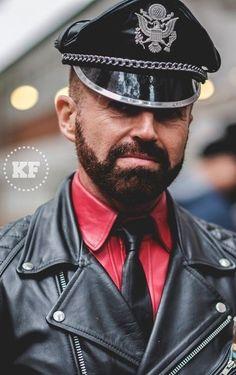 Motorcycle Leather, Biker Leather, Leather Men, Leather Jacket, Hot Cops, Edgy Look, Jacket Men, Beards, Captain Hat