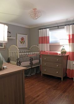 Pink and gray nursery - love the bold curtains.  I like the style but would use a color other than pink.