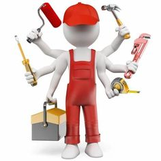 Illustration about white people. Multitasking handyman with screwdriver tool box tape measure hammer wrench pipes paint roller. Illustration of pipes, people, carpenter - 56764225 Refinish Wood Floors, Old Wood Floors, Handyman Logo, Maintenance Logo, Foto 3d, 3d Icons, Sculpture Lessons, 3d Man, Business Card Design