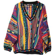Rainbow Coogi Style V-neck Sweater di TheBeardedBee ($150) ❤ liked on Polyvore featuring tops, sweaters, shirts, rainbow shirt, rainbow sweater, print shirts, v-neck sweater and v neck sweater