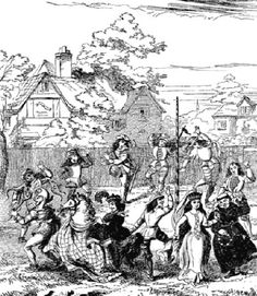 Morris dancers with maypole and pipe and taborer, Chambers Book of Days