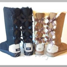 Custom Uggs with Swarovski Crystals! Are you ready to make an unforgettable impression and show your unique style throughout this season? Jezelle.com has these amazing Authentic Bailey Bow tall Ugg