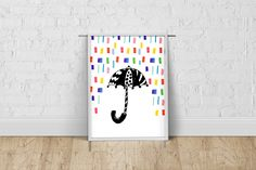 Colorful raindrops and umbrella print, Nursery wall art, Kids room poster, New baby gift, Baby shower gift Kids Room Wall Art, Nursery Wall Art, Art Kids, Poster Making, Nursery Neutral, New Baby Gifts, Rainbow Colors, Baby Shower Gifts, Giclee Print