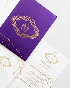 Regal Medallion invitations shine in royal violet and adorned with a gold foil monogram. #monogrameverything