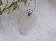 White Beach Glass Heart Necklace