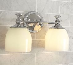 Mercer Double Sconce in Bronze #potterybarn - for yellow bathroom