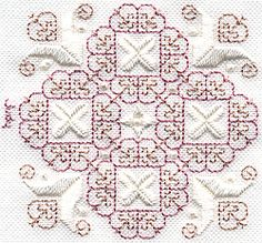 Here's a simple beginner's Cross Stitch called Pearl Drops  design that can be worked up in a jiffy.PDF download.  Designed by Judy Dixon