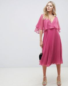 9ab75b9cbe17 ASOS DESIGN flutter sleeve midi dress with pleat skirt Wedding Guest Midi  Dresses, Wedding Dresses