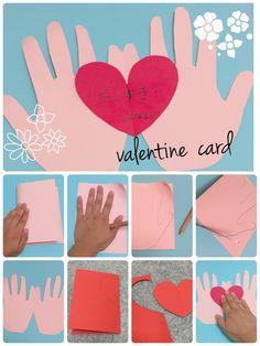 今年は、バレンタインカードもこどもと手作り!お子様のかわいい手を型どったカードは家族の思い出の作品にもなりますよ!