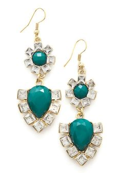 Sipping Sherry Earrings. The evening may be winding down, but your glittering earrings never stop shining! #green #wedding #modcloth