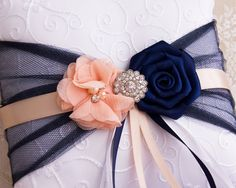 Blush and Navy Blue Flower Girl Basket and Ring Bearer Pillow set, Wedding Basket and Pillow Set, Navy and Blush Wedding Accessories Blush and Navy Blue Flower Girl Basket and Ring by BridalQueen Blue And Blush Wedding, Blush Wedding Flowers, Diy Wedding Bouquet, Wedding Pillows, Ring Pillow Wedding, Satin Ribbon Roses, Navy Blue Flowers, Flower Girl Basket, Pillow Set