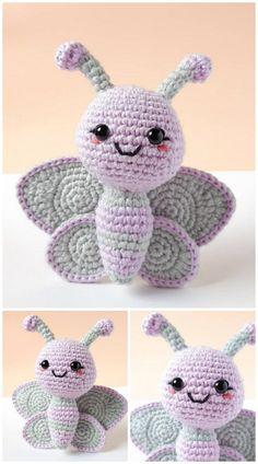Crochet Butterfly Pattern, Crochet Amigurumi Free Patterns, Free Crochet, Beginner Crochet Projects, Crochet For Beginners, Crochet Crafts, Crochet Toys, Crochet Animals, Cute Butterfly