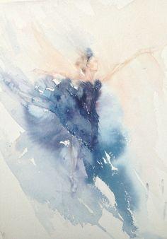 Ballet Watercolor Painting The Black Swan by Rachaelizaart on Etsy, £90.00