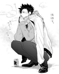 Brrrr so cold! Kuroo Haikyuu, Kuroo Tetsurou, Bokuto Koutarou, Haikyuu Anime, Hot Anime Boy, Anime Guys, Manga Anime, Haikyuu Volleyball, Volleyball Anime