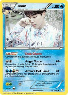 Jimin on a pokemon card Bts Boys, Bts Bangtan Boy, Bts Jimin, Bts Memes, Funny Memes, Hilarious, Seokjin, Bts E Got7, Drama