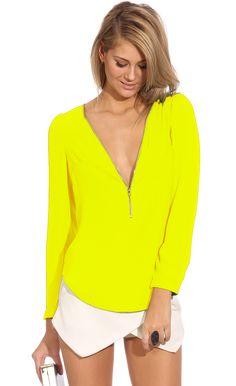 Top cuello pico cremallera-amarillo 15.52