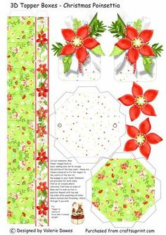 3D Topper Boxes Christmas Poinsettia on Craftsuprint designed by Valerie Dawes