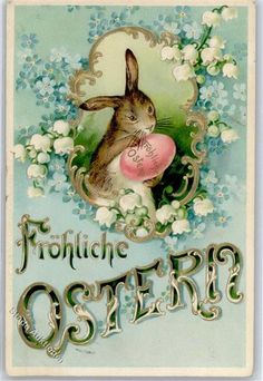 1902 Embossed Easter Bunny Forget-me-not Lily-of-the-valley: Postcards-Cent Easter Art, Hoppy Easter, Easter Crafts, Vintage Cards, Vintage Postcards, Easter Bunny Pictures, Easter Parade, Vintage Easter, Fauna