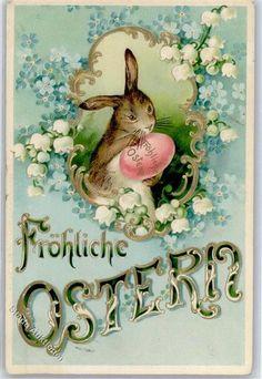 1902 Prägedruck Ostern Hase Vergissmeinnicht Maiglöckchen: Ansichtskarten-Center Onlineshop