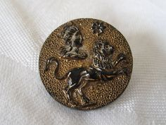 ANTIQUE Leo Zodiac Luster Black Glass BUTTON by abandc on Etsy, $6.95