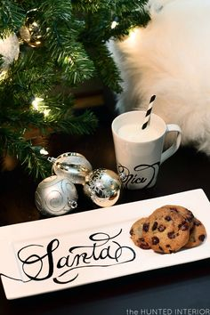 "A must for when I have kids - DIY Santa Plate and Mug (with ""Naughty"" on one side and ""Nice"" on the other). Create your design with a sharpie then once completely dry lightly paint a coat or two of ceramic/porcelain sealant over entire surface before baking."