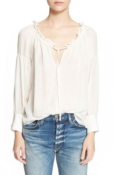 FRAME 'Le Ruffle' Drawstring Silk Shirt