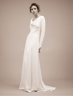 Chiffon Cowl Neckline with Long Sleeves Sophisticated Sheath Wedding Dresses - Bridal Gowns - RainingBlossoms