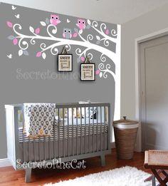 Nursery wall decal - Wall Decals Nursery -  Corner Tree Wall Decal. Girl Wall Decal Tree. Nursery Decals - Tree Girl by secretofthecat on Etsy https://www.etsy.com/listing/190178262/nursery-wall-decal-wall-decals-nursery