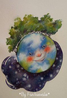HAPPY EARTH'S DAY! Buen DIA DE LA TIERRA! FELICE GIORNATA DELLA TERRA! By Fantasvale www.youtube.com/Fantasvale www.facebook.com/Fantasvale  #terra #earth #tierra #Gaia #watercolor #art #illustration #arte #acquerello