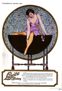 Luxite Hosiery ad from Cosmopolitan, 1920.