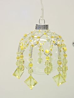 HANDMADE GLASS BEADED BAUBLE TREE TABLE WINDOW DECORATION - No. 11 Yellow Beaded Christmas Ornaments, Christmas Balls, Christmas Ideas, Xmas, Tree Table, Glass Beads, Beading, Window, Navidad