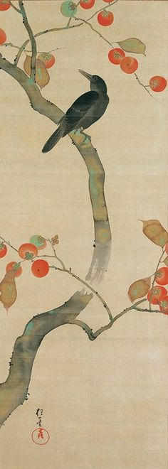 """Sakai Hoitsu, """"Birds and flowers twelve months of the year"""" (the tenth month). The Etsuko and Joe Price Collection. Japanese Painting, Chinese Painting, Chinese Art, Japanese Art Styles, Japanese Prints, Art Chinois, Art Asiatique, Art Japonais, Japan Art"""