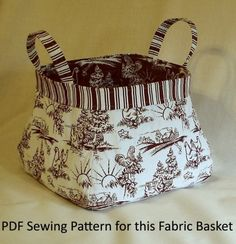 Fabric Basket PDF Sewing Pattern.