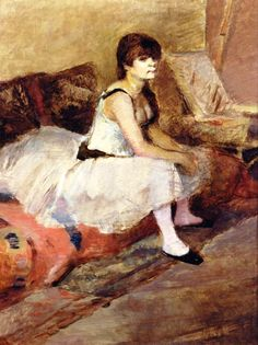 """Dancer Seated on a Pink Divan"" by Henri de Toulouse-Lautrec"