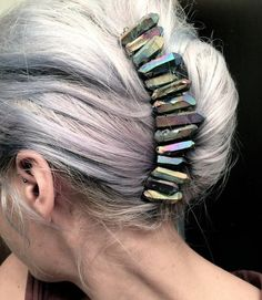 Grey hair with stones.