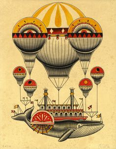 Whale Hot Air Ballon Illustration Kyler Martz