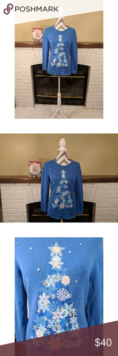 """Ugly Christmas Sweater A fun sparkling Christmas tree with snowflakes on a bright blue background. Crewneck, long sleeves, tunic style, with sequin/metallic thread accents.   Size: Medium Petite. Material: 55% ramie 45%, cotton; Embroidery: 71% wool, 18% rabbit hair, 11% nylon. Hand wash turned inside out.  Approximate measurements: - Bust: 18"""" - Length: 25""""  No trades. Smoke-free, pet-friendly home. Bundle and save! Westbound Sweaters Crew & Scoop Necks"""
