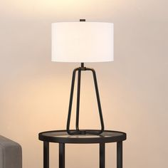 Bryan Table Lamp in Blackened Bronze Finish with Linen Shade (Brown/Black - Bronze - Desk Lamp/Buffet Lamp/Accent Lamp), Heath & Cliff Tripod Table Lamp, Table Lamp Wood, Cool Floor Lamps, Bedroom Lamps, Mid Century Modern Design, Drum Shade, Lamp Shades, Home Decor Outlet