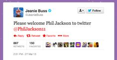 Phil Jackson Joins Twitter, Writes Gibberish First Tweet