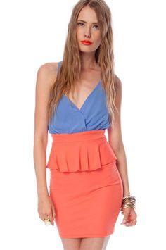 Cross Wrap Peplum Dress in Hot Coral $35 at www.tobi.com