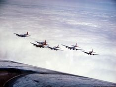 Formation of Boeing B-17s of the US 8th Air Force in flight over England.