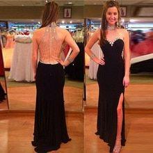2519baf73 Sexy cristais preto chiffon longo prom dress 2017 beading alta neck prom vestidos  vestidos frente dividir