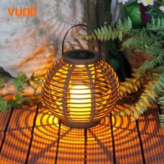 Yunji Waterproof IP65 1LED Solar powered candle lantern with flickering amber LED rattan light outdoor decorative smart lights