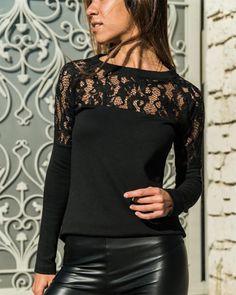 8e6bb2ce60  HelloCloth Fashion Round Neck Lace Stitching Long Sleeve T-Shirts -  AdoreWe.net