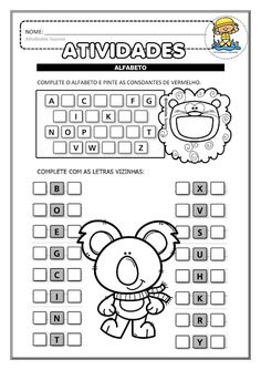 Alfabetização: alfabeto, letra inicial dos desenhos e consoantes EM PDF atividades iniciais | Atividades Pedagogica Suzano 2nd Grade Math Worksheets, Alphabet Worksheets, Preschool Worksheets, Numbers Preschool, Homeschool, Activities, Wood Working, David, Internet